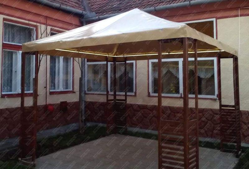 Kerti sátor ponyva tetővel, ponyvakészítés pvcponyva.hu